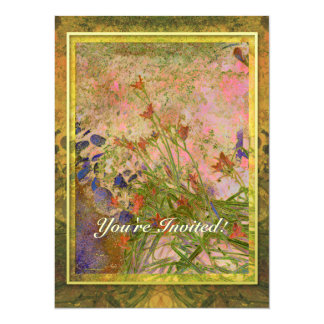 "Daylilies and Stone Path Invitation 5.5"" X 7.5"" Invitation Card"
