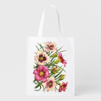 Daylily Bouquet Rubies Grocery Bag