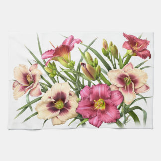 Daylily Bouquet Rubies Hand Towels