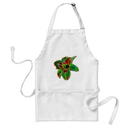 Daylily de neón rojo/verde delantal