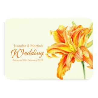 Daylily Hemerocallis floral wedding invitation 9 Cm X 13 Cm Invitation Card