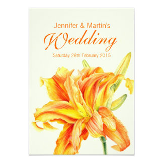 Daylily Hemerocallis floral wedding invitation