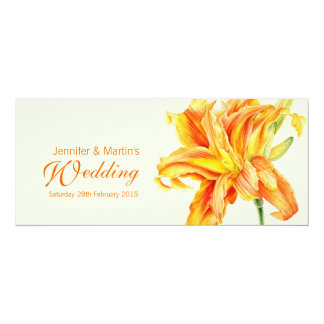 "Daylily Hemerocallis floral wedding invitation 4"" X 9.25"" Invitation Card"