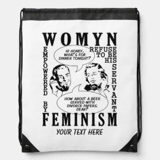 Daypack feminista retro del humor mochilas