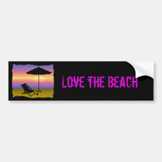 Days End at the Beach with Umbrella and Chair Bumper Sticker