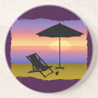 Days End at the Beach with Umbrella and Chair Coaster