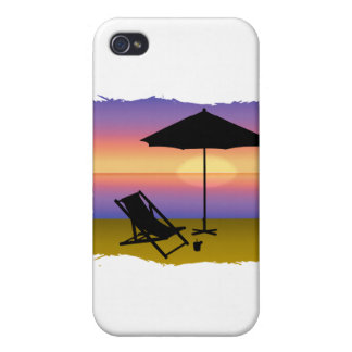 Days End at the Beach with Umbrella and Chair iPhone 4/4S Covers