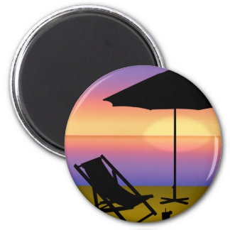 Days End at the Beach with Umbrella and Chair 2 Inch Round Magnet