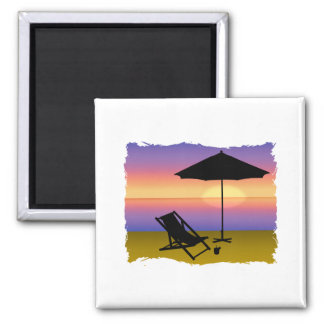Days End at the Beach with Umbrella and Chair 2 Inch Square Magnet
