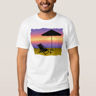 Days End at the Beach with Umbrella and Chair T-Shirt