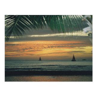 Day's end at Waikiki Beach, Hawaii. Postcard
