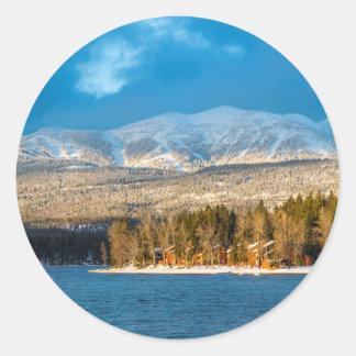 Days Last Light Shines On Ski Runs Of Whitefish Classic Round Sticker