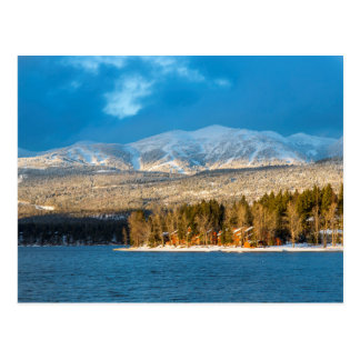 Days Last Light Shines On Ski Runs Of Whitefish Postcard