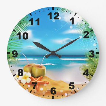 Beach Themed Days of Summer Round (Large) Wall Clock
