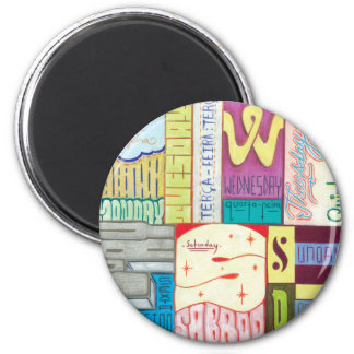 Days of the week 2 inch round magnet