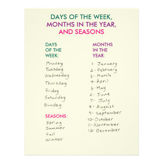 Days of the Week, Months in the Year & Seasons Letterhead