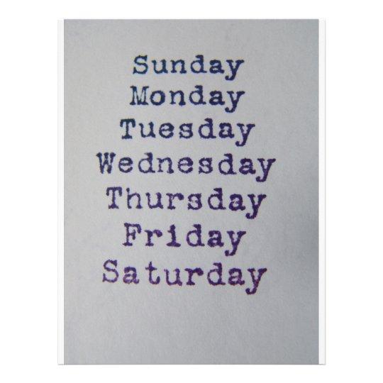 Days OfThe Week Letterhead