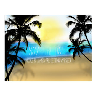 Daytime Beach + Palm Trees Save The Date Postcard