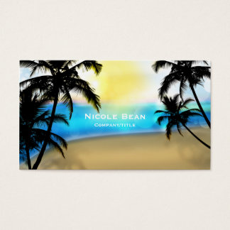Daytime Beach & Palm Trees Tropical Business Card