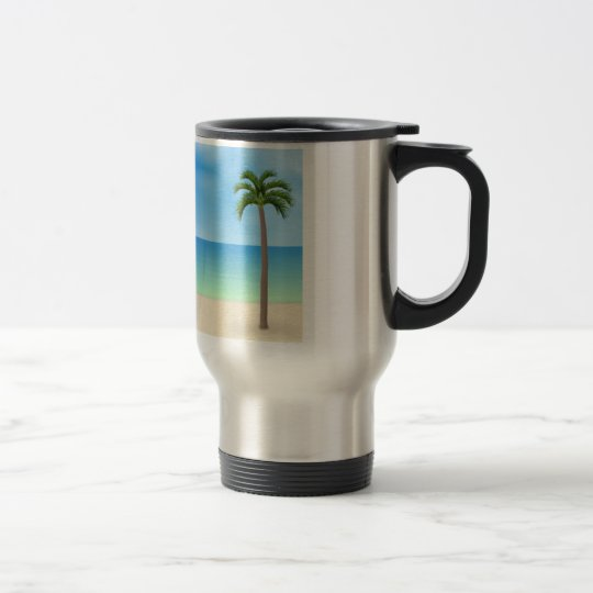 Daytime Beach Scene: Travel Mug