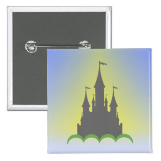 Daytime Dreamy Castle In The Hills Sunny Sky 2 Inch Square Button