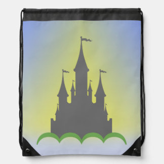 Daytime Dreamy Castle In The Hills Sunny Sky Drawstring Backpack