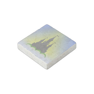 Daytime Dreamy Castle In The Hills Sunny Sky Stone Magnet