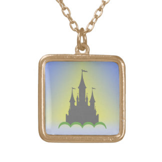 Daytime Dreamy Castle In The Hills Sunny Sky Gold Plated Necklace