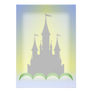 Daytime Dreamy Castle In The Hills Sunny Sky Personalized Invitations