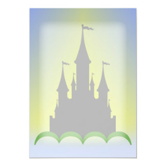 Daytime Dreamy Castle In The Hills Sunny Sky 5x7 Paper Invitation Card
