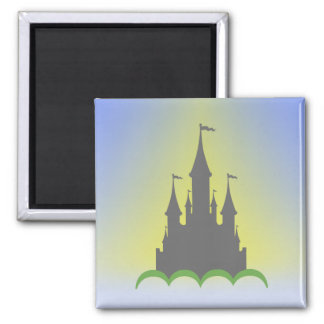 Daytime Dreamy Castle In The Hills Sunny Sky Refrigerator Magnet