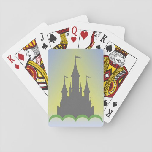 Daytime Dreamy Castle In The Hills Sunny Sky Playing Cards