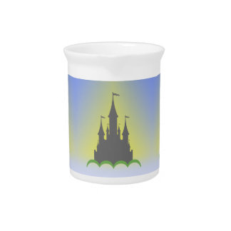 Daytime Dreamy Castle In The Hills Sunny Sky Pitcher