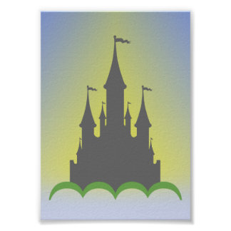 Daytime Dreamy Castle In The Hills Sunny Sky Poster
