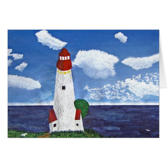 Daytime Lighthouse with Ocean View Painting Card