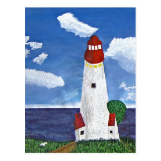 Daytime Lighthouse with Ocean View Painting Postcard