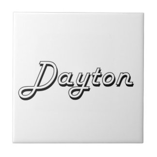 Dayton Classic Retro Name Design Small Square Tile