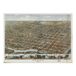Dayton Ohio 1870 Antique Panoramic Map Poster
