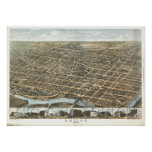 Dayton Ohio 1870 Antique Panoramic Map Posters