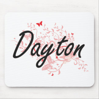 Dayton Ohio City Artistic design with butterflies Mouse Pad
