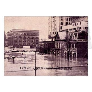 Dayton, Ohio Flood Scene, 4th Street Greeting Card