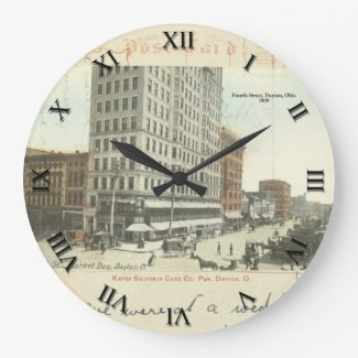 Dayton Ohio Post Card Clock - Fourth St 1909