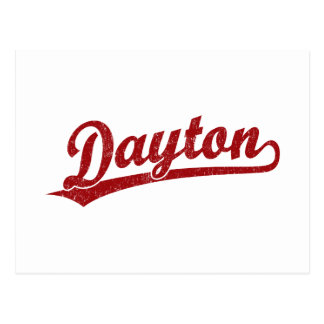 Dayton script logo in red post card
