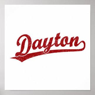 Dayton script logo in red poster