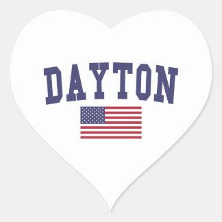 Dayton US Flag Heart Sticker