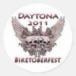 Daytona 2011 cráneos rojos pegatinas redondas