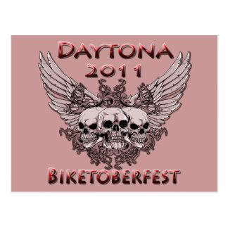 Daytona 2011 red skulls postcard