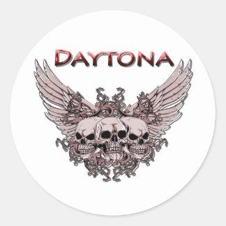 Daytona 3 Flying Skulls red Classic Round Sticker