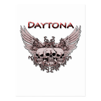 Daytona 3 Flying Skulls red Postcard
