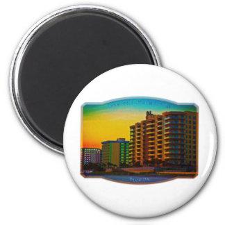 Daytona Beach apuntala arte enmarcado de los centr Imán Redondo 5 Cm